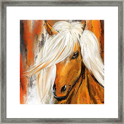 Not Your Ordinary- Colorful Horse- White And Brown Paintings Framed Print by Lourry Legarde