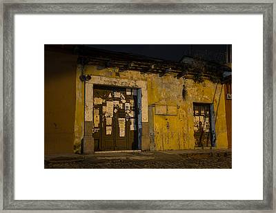 Note At The Door Framed Print by Christian Santizo