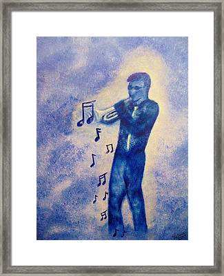 Notes Of Blue Framed Print