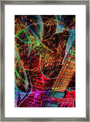 Notes On Fire Digital Guitar Art By Steven Langston Framed Print by Steven Lebron Langston
