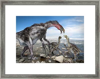 Nothronychus Dinosaur Family, Artwork Framed Print by Science Photo Library