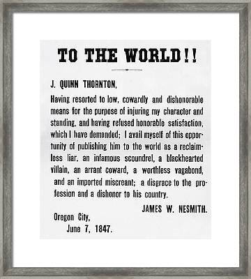 Notice Of Satisfaction Published To The World  1847 Framed Print by Daniel Hagerman