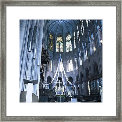 Notre Dame Altar Teal Paris France Framed Print