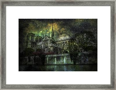 Notre Dame At Night Framed Print by James Bethanis