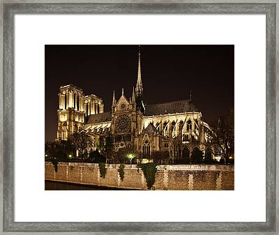 Notre Dame At Night Framed Print