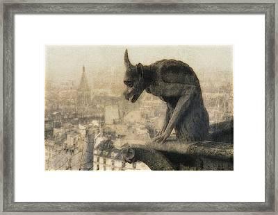 Notre Dame Cathedral Gargoyle Framed Print by Douglas MooreZart