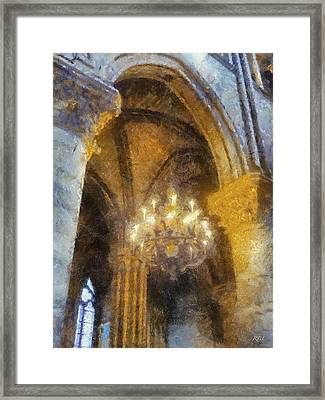 Notre-dame Chandelier Framed Print by Rick Lloyd