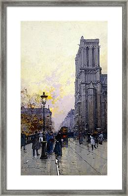 Notre Dame De Paris Framed Print by Eugene Galien-Laloue