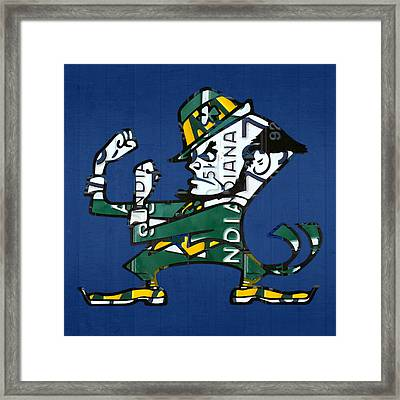 Notre Dame Fighting Irish Leprechaun Vintage Indiana License Plate Art  Framed Print