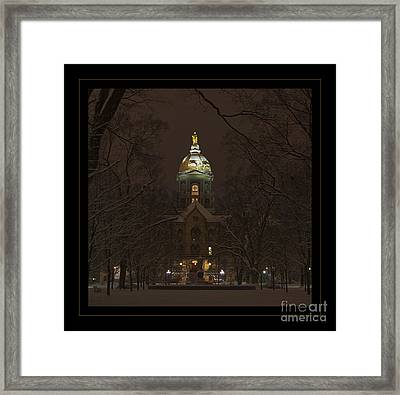 Notre Dame Golden Dome Snow Poster Framed Print