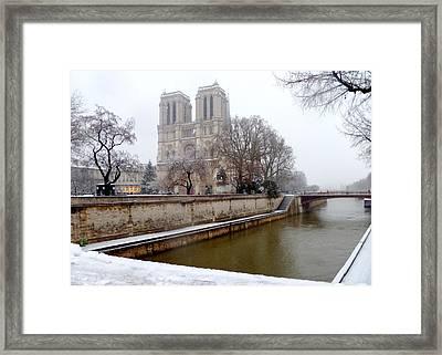 Notre Dame In Winter Framed Print