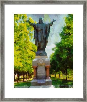 Notre Dame Jesus Statue In Summer Framed Print by Dan Sproul