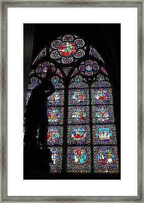 Notre Dame Stained Glass Silhouette Framed Print by Jennifer Ancker