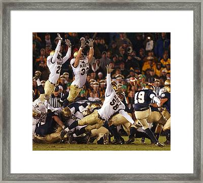 Notre Dame Versus Navy Framed Print by Mountain Dreams