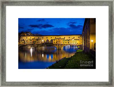 Notte A Ponte Vecchio Framed Print by Inge Johnsson