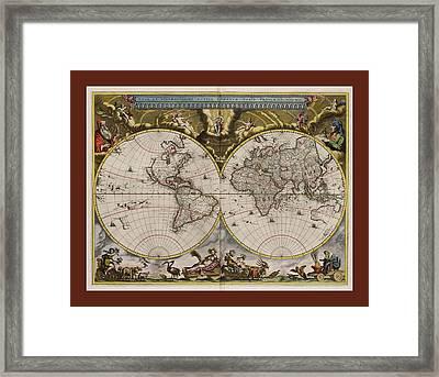 Nova Et Accuratissima Terrarum Orbis Tabula 1664  Framed Print by L Brown
