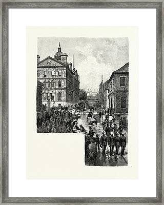 Nova Scotia, Looking Up George Street, Halifax Framed Print by Canadian School