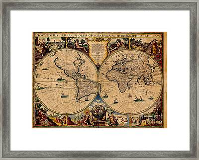 Nova Totius Terrarum Orbis Geographica Ac Hydrographica Tabula Old World Map Framed Print by Inspired Nature Photography Fine Art Photography