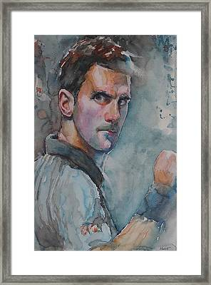 Novak Djokovic - Portrait 1 Framed Print by Baresh Kebar