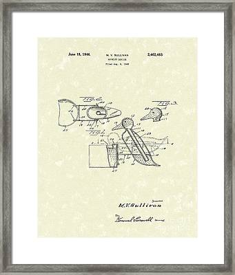 Novelty Duck 1946 Patent Art Framed Print
