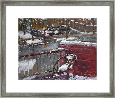 First Snowfall Nov 17 2014 Framed Print by Ylli Haruni