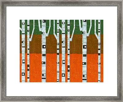 November Birches Framed Print by Michelle Calkins