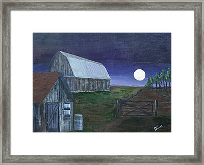 November Hunters Moon Framed Print by Jack G  Brauer