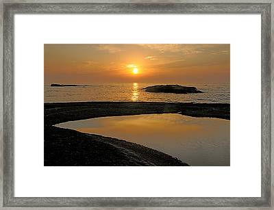Framed Print featuring the photograph November Sunrise II - Lake Superior by Sandra Updyke