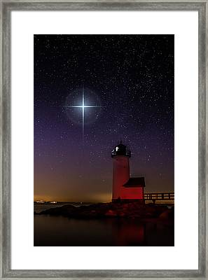 Star Over Annisquam Lighthouse Framed Print