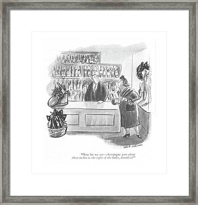 Now Let Me See - Champagne Goes About Three Framed Print by Helen E. Hokinson