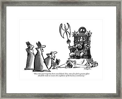 Now That Your Reign Has Been Consolidated Framed Print by Lee Lorenz