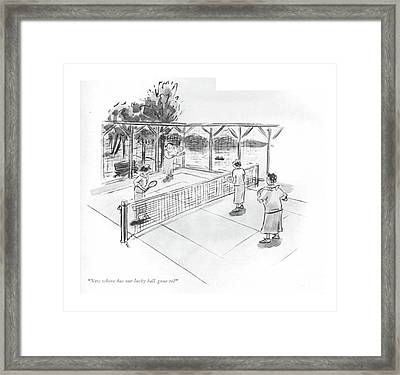 Now Where Has Our Lucky Ball Gone To? Framed Print by Helen E. Hokinson