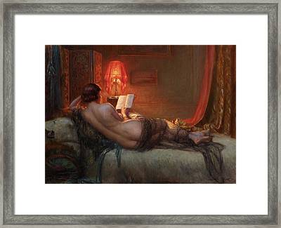 Framed Print featuring the painting Nu De Dos A La Peau Dours  by Delphin Enjolras