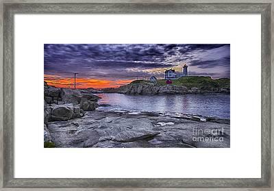 Nubble Lighthouse Maine Framed Print by Steven Ralser
