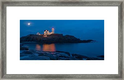 Nubble At Night Framed Print