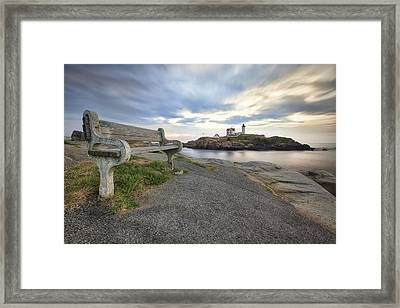 Nubble Bench Framed Print by Eric Gendron