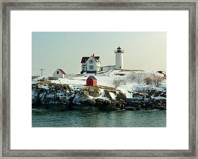 Nubble In Winter Framed Print