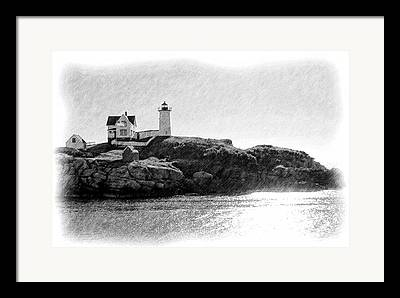 Nubble Lighthouse Drawings Framed Prints
