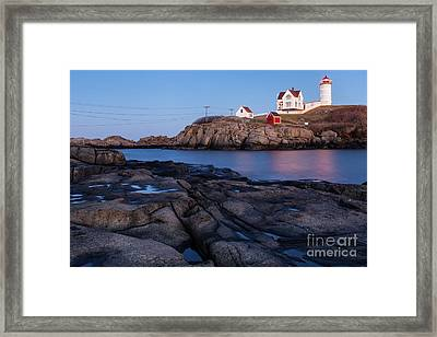 Nubble Light Along Maine's Rugged Coast York Beach Maine Framed Print