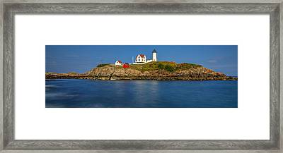 Nubble Light And A Clear Blue Sky Framed Print
