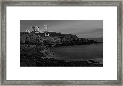 Nubble Light At Sunset Bw Framed Print by Susan Candelario