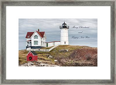 Framed Print featuring the photograph Nubble Light Christmas Card by Richard Bean