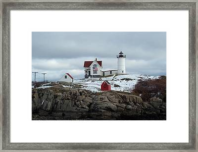 Framed Print featuring the photograph Nubble Light In December by Barbara McDevitt