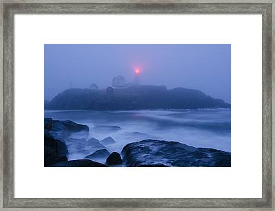 Nubble Light In Foggy Dawn Framed Print