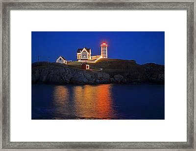 Nubble Light In York Me Cape Neddick Christmas Blue Sky Framed Print by Toby McGuire
