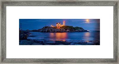 Nubble Light Moonrise Framed Print