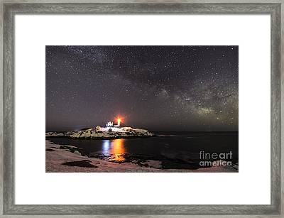 Nubble Light With Milky Way Framed Print