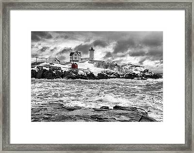 Nubble Lighthouse After The Storm Framed Print by John Vose