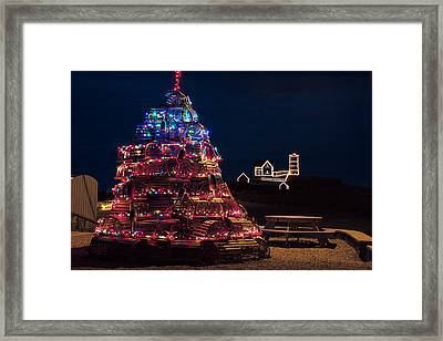 Nubble Lighthouse And Lobster Pot Tree Framed Print by Jeff Folger
