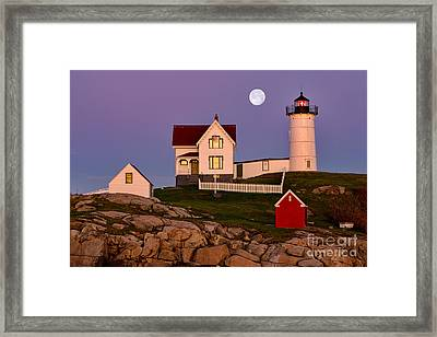 Nubble Lighthouse And Moon Framed Print by Jerry Fornarotto